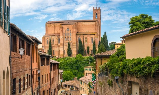 Siena, Italy - Basilica Cateriniana di San Domenico overlooks the city of Siena