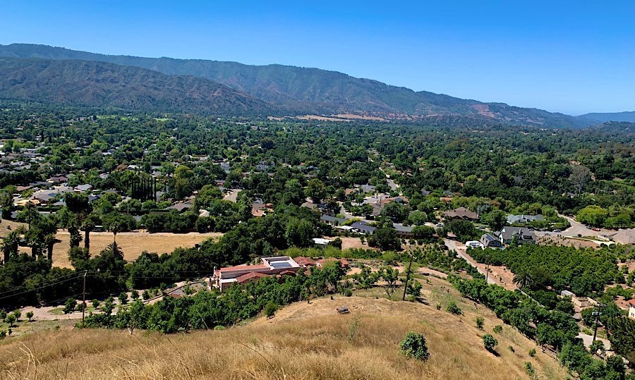 The Ojai Valley seen from a vista point on the Valley View Preserve Trail