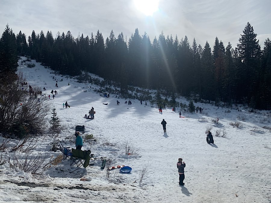 McCloud, California - Snow play area at Snowmans Hill Summit right off the 89 highway heading to Mount Shasta Ski Park