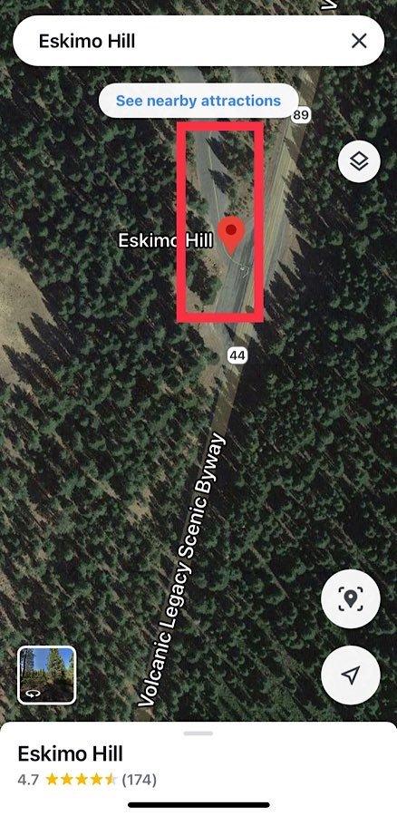Map of Eskimo Hill snow play area near Redding area