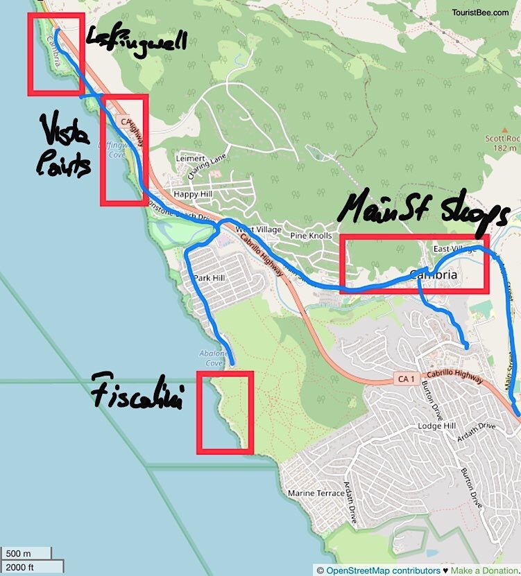 Map of best things to do in Cambria California