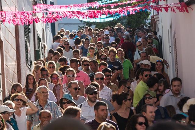 Large Crowds of people walking