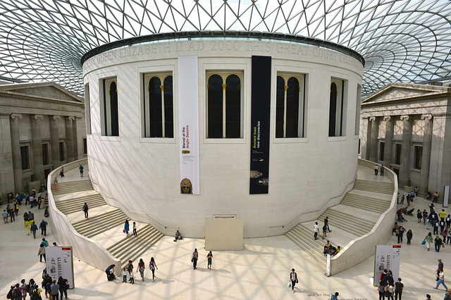 The imposing entrance hall to the British Museum